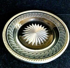 """Antique Watson Crystal Cut Glass Sterling Silver Rim Plate 5-5/8"""""""