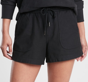 ATHLETA WOMEN'S BLACK ELASTIC WAIST STRETCHY FARALLON SHORTS Sz 8