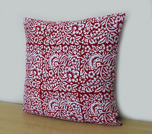 Floral Pillow Cover Hand Block Printed Cushion Cover Decorative Pillow Covers UK