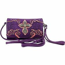 Vintage Cross Wristlet Wallet Croc Skin Long Strap Cross Body Small Purse Purple