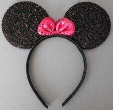 Minnie mouse ears hairband fancy dress party hen night glitter black
