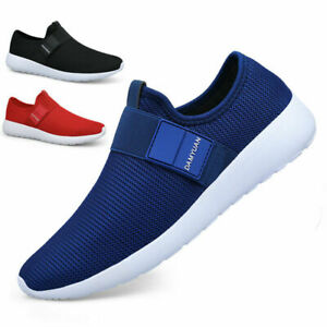 Men's Slip On Sneakers Sports Tennis Shoes Athletic Mesh Casual Gym Trainers