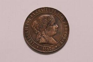 SPAIN 5 CENTIMOS DE ESCUDO 1867 SHARP DETAILS B35 #5554