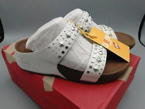 New FITFLOP Biker Chic Women Slide Sandals Urban White Size US 7 EU 38 UK 05