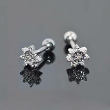 2pcs Stainless Steel CZ Flower Ear Stud Earring Cartilage Helix Tragus Studs