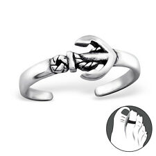 925 Sterling Silver Toe Ring Anchor Sea Ship Adjustable Body Jewellery Oxidised