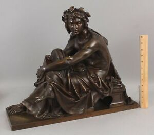 19thC ALBERT-ERNEST CARRIER-BELLEUSE Bronze Sculpture APOLLO Greek Mythology God