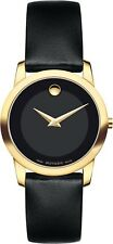 Movado Museum 0606877 Black Leather/Gold Stainless Steel Quartz Women's Watch