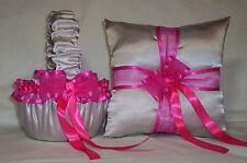 Silver Satin / Fuchsia Trim Flower Girl Basket & Ring Bearer Pillow #1
