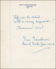 "Ira GERSHWIN (Jazz): Signed MS Lyrics - ""Americana"""