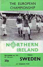 NORTHERN IRELAND V SWEDEN EUROPEAN CHAMPIONSHIP 1975 VGC