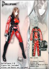 CC61 1/6 Clothing- Red/Black Female Bodysuit Full Set for HOT TOYS,Phicen