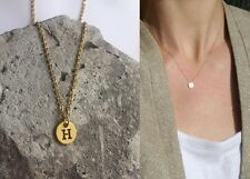 "Delicate Gold Round Disc "" H "" Letter Initial Pendant Necklace 18""L chain Urban"
