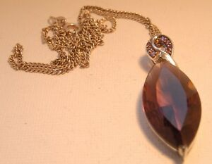 Silver Set Amethyst Coloured Stone Pendant with Silver Chain