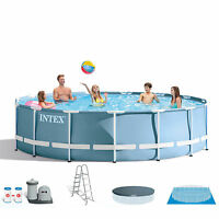 "Intex 18' x 48"" Prism Frame Above Ground Pool Set and Six Filter Cartridges"