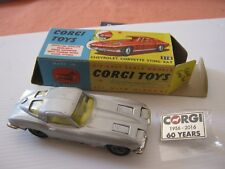 CORGI 310 CHEVY CORVETTE SILVER STINGRAY GOOD ORIGINAL CAR & GOOD ORIGINAL BOX