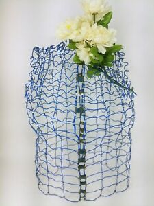 """Vintage Blue My Double Dress Form Metal Wire Adjustable 26"""" Tall"""