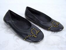 Rocawear Black Bronze Leather Upper Rhinestone Flats Shoes Womens Size 8