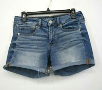 American Eagle Outfitters Womens Blue Flat Front Stretch Cuffed Denim Shorts 6