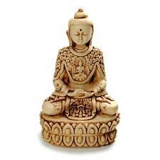 "BUDDHA STATUE 5.5"" White Resin Buddhist Deity Meditating Meditate HIGH QUALITY"