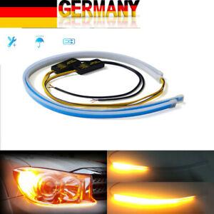 2x LED Auto Dynamische Blinker Streifen DRL Scheinwerfer Tagfahrlicht Lampe DHL
