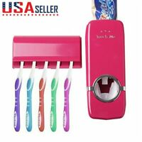 Auto Automatic Toothpaste Dispenser + 5 Toothbrush Holder Set Wall Mount Stand