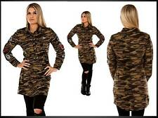 modische langarm Longbluse Longshirt mit Patches Army camouflage M (1218)