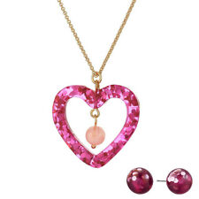 Betsey Johnson Pink Heart Necklace And Stud Earring Set