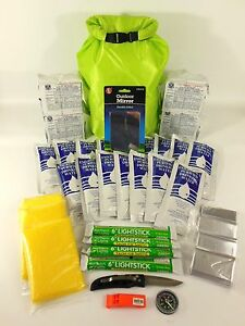 BOAT EMERGENCY SURVIVAL KIT 4 PERSON 2 DAYS, DITCH BAG, FAMILY EVACUATION. BOB