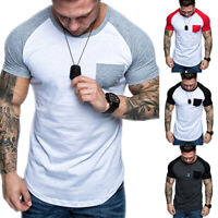 Men Crew Neck Pocket Short Sleeve Tee Shirt Summer Casual Slim Fit T-Shirts Tops