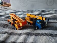 Vintage Isuzu pull back Crane & lift trucks x 2, 1970's great condition Rare