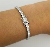 14k White Gold Over Sterling Silver Square Diamond Tennis Bracelet