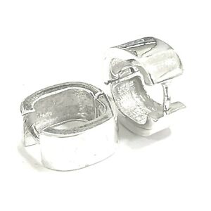 925 Sterling Silver Plain 15MM Genuine Solid Men & Ladies's Huggie Earrings
