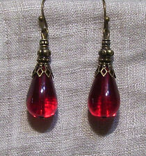 BRASS FILIGREE RUBY RED GLASS TEAR DROP EARRINGS EDWARDIAN GOTHIC VICTORIAN