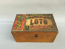 Ancienne boite en bois de jeu LOTO Loteria jouet ancien french antique