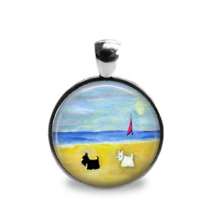 Silver Plated Scottie and Westie Dog Art Pendant
