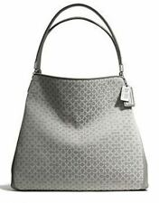 Coach Madison Op Optic Art Needlepoint Small Phoebe Shoulder Bag 26281 $298 Gray