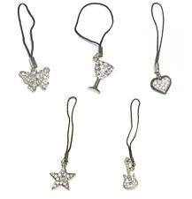 Mobile Phone Tablet Charm Butterfly Heart Star Guitar Silver Diamante Handbag UK