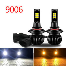 2x 9005 9006 White+Yellow Dual Color 12SMD 3030 LED Fog Driving Light Bulbs New
