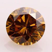 Genuine Loose Moissanite 1.00 Ct Cognac Brown Color Round Brilliant Cut VVS1/2