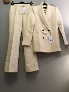 Zara Rustic Co Ord Suit Double Breasted Blazer With Topstitching And Trousers S