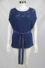 T Tahari Womens Sweater Blue Crochet Knit Open Weave Tie Waist Poncho Size XS