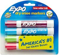 EXPO Low-Odor Dry-Erase Marker, Broad Chisel Tip, 4-Count Assorted Colors
