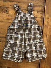 OshKosh B'gosh Baby Boy Infant Brown Plaid Overall Shorts Size 12 Months