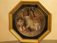 VINTAGE ARMSTRONG PORCELAIN CAT PLATE 1983 The Cats Meow in GOLD BOX FRAME!!!