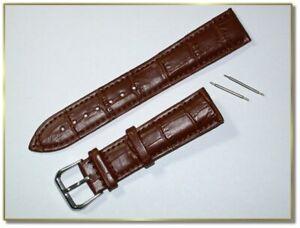 hochwertiges echt Leder Uhrenarmband Braun Krokodil 20mm breit  3,5mm dick  9775