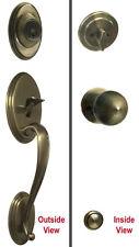 Antique Brass Handleset Entry Entrance Keyed Font Door Handle Knob Lock Deadbolt