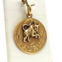 18K 2 Tone Gold Taurus Bull Zodiac Disc Charm Pendant 2.8 Gr
