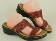CLARKS Women's Size 11 M Hayla Young RED Leather Slide Wedge Sandals