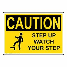 ComplianceSigns Aluminum OSHA CAUTION Sign, 10 x 7 in. with Watch Your Step...